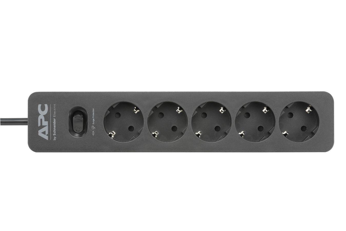 APC PME5B-GR Essential SurgeArrest Black 5 outlet, 230 V elektrības pagarinātājs