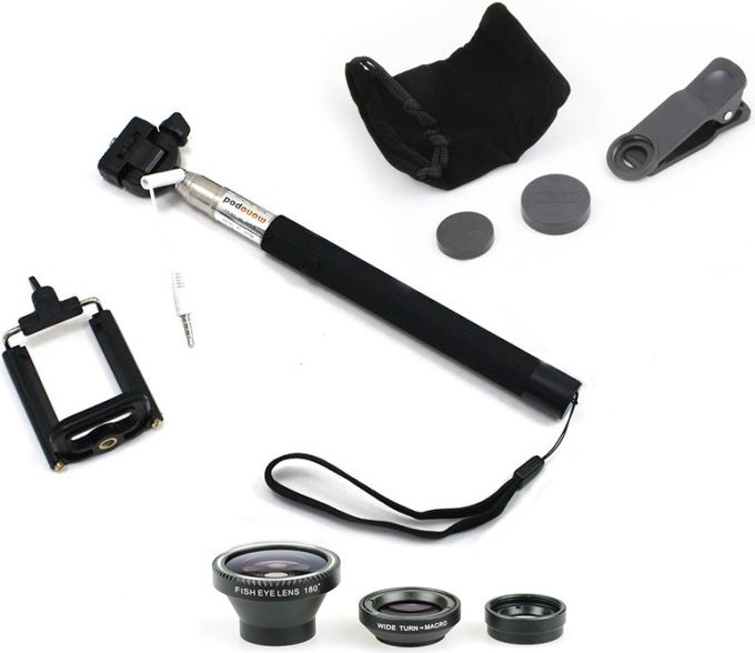 Xrec Selfie Monopod Kit With Button + 3in1 Lens For Phone Selfie Stick