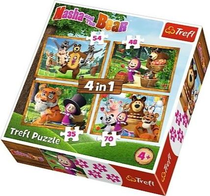 TREFL Puzzles 4in1 Masha and the Bear - Forest adventures puzle, puzzle