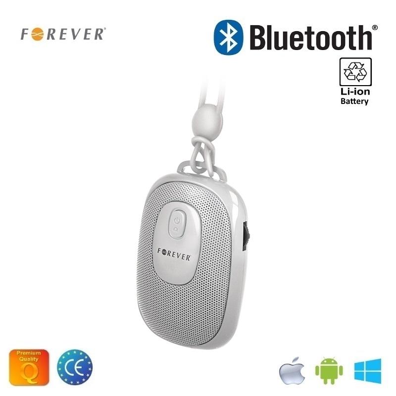 Forever BS-110 Bezvadu Bluetooth Ceļojumu Skaļrunis ar Selfie Foto pogu un silikona siksniņu Balts pārnēsājamais skaļrunis