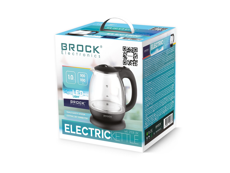 BROCK Tējkanna elektriskā stikla, 1 l, 900-1100  W Elektriskā Tējkanna