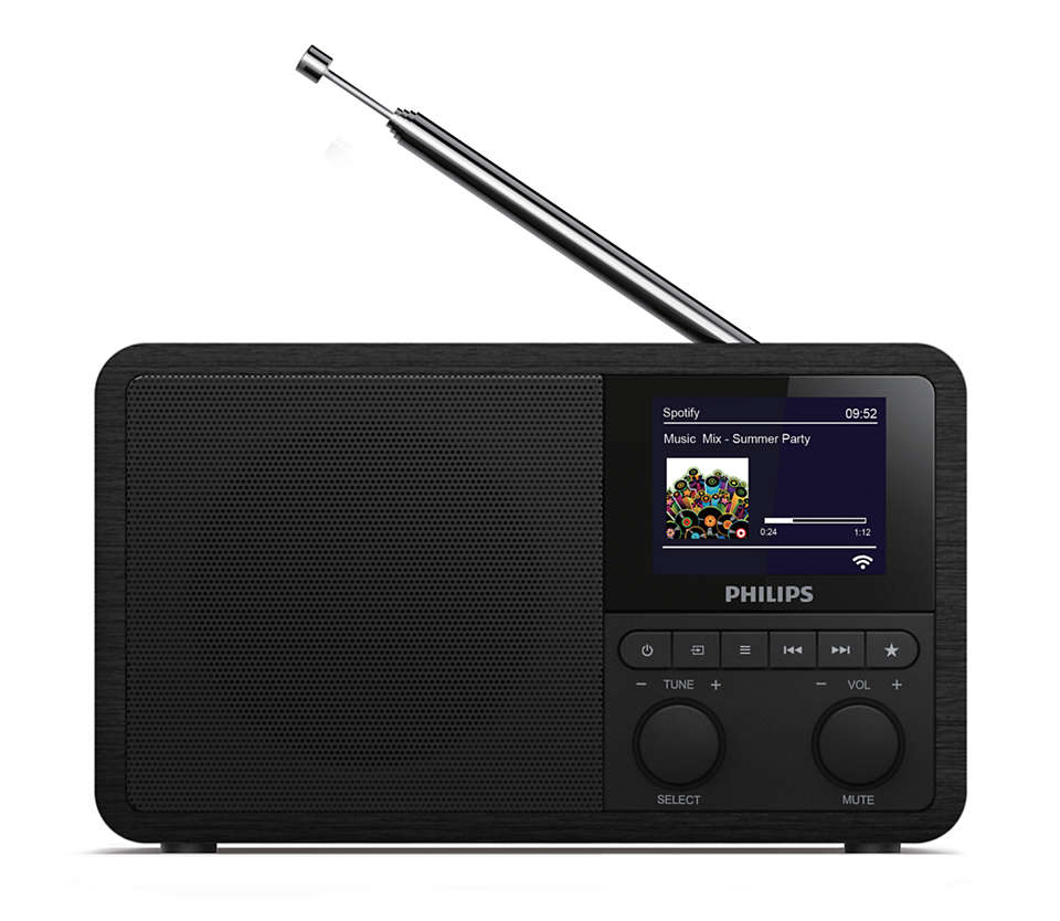 Philips Internet Radio TAPR802/12, Spotify, DAB and FM, 3W, Black akustiskā sistēma