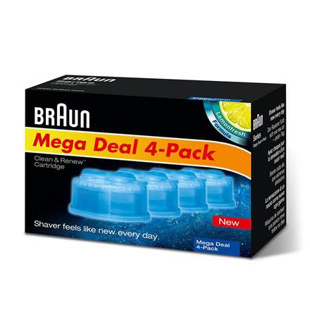 BRAUN maināmas kasetnes ar tīrīšanas šķidrumu skuvekļiem Clean&Renew CCR3+1 vīriešu skuvekļu piederumi