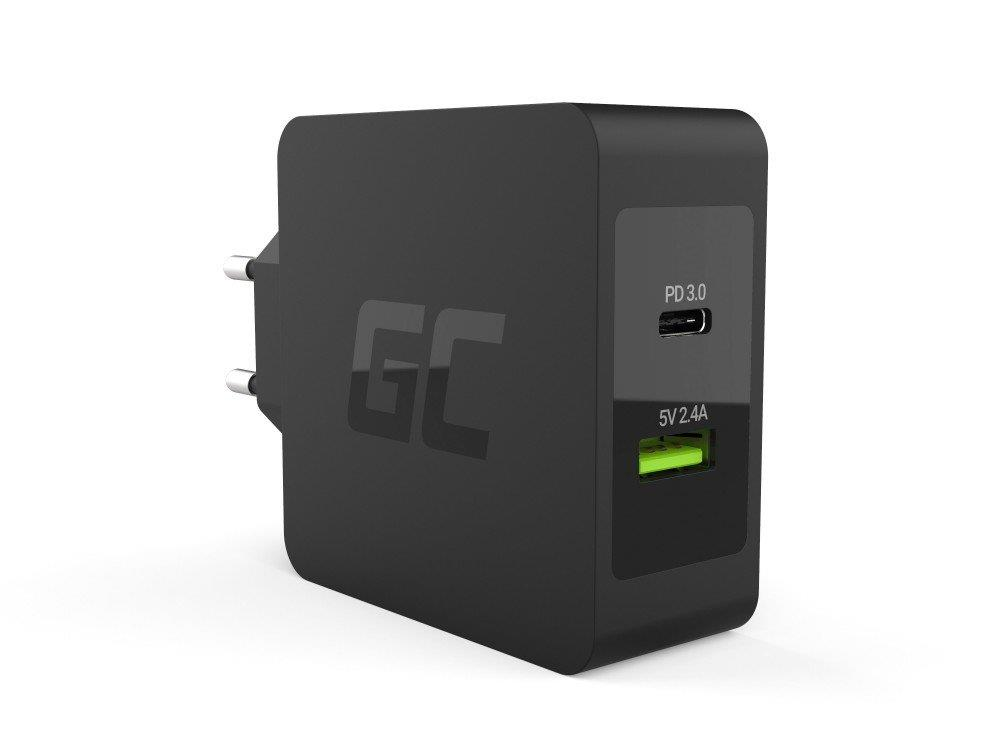 Green Cell USB-C 45W PD Charger with USB-C cable and additional USB aksesuārs mobilajiem telefoniem