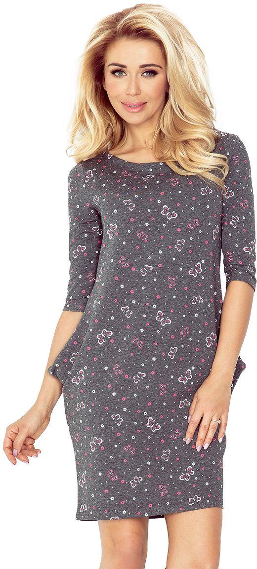 numoco Sukienka z kieszeniami Jola 40-12 grafitowa w rozowe motylki r. XL 881-5619 Kleitas sievietēm