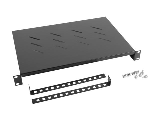 Lanberg fixed shelf 19'' 600mm, 1U/483x300mm, max load capacity up to 25kg black Serveru aksesuāri