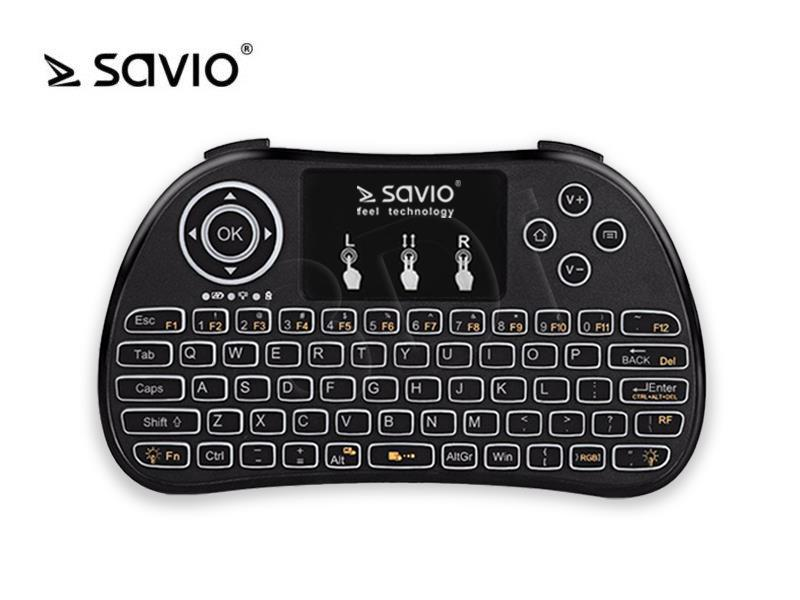 SAVIO KW-02 Wireless keyboard Android TV Box, Smart TV, PS3, XBOX360, PC klaviatūra