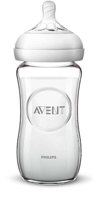 Philips Avent Natural stikla zīdaiņu pudelīte 240 ml, lēnas plūsmas knupītis 1m+ SCF053/17 bērnu barošanas pudelīte
