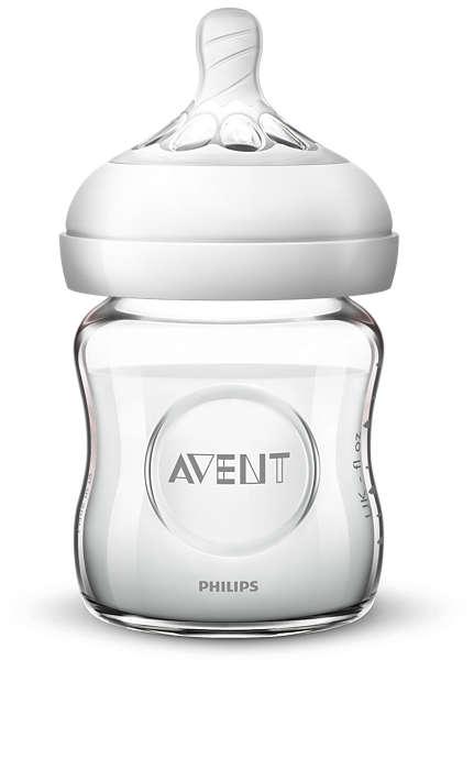 Philips Avent Natural stikla zīdaiņu pudelīte 125 ml, jaundzimušā knupītis, 0m+ SCF051/17 bērnu barošanas pudelīte