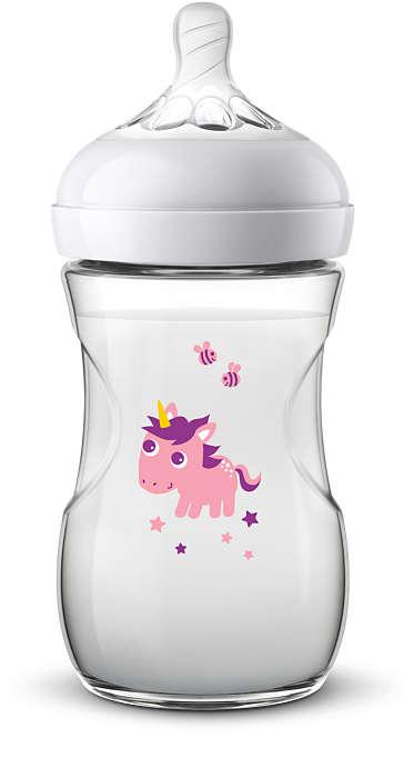 Philips Avent barošanas pudelīte Natural Unicorn 260 ml, lēnas plūsmas knupītis, 1m+ SCF070/25 bērnu barošanas pudelīte