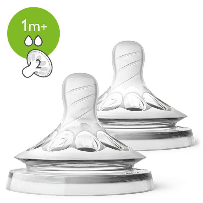 Philips Avent barošanas pudeļu silikona knupītis Natural, 2 caurumi, lēna plūsma, 1 m+ SCF042/27 bērnu barošanas pudelīte