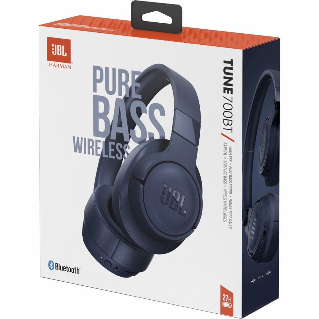 JBL Wireless JBLT700BTBLU, over-ear, blue austiņas