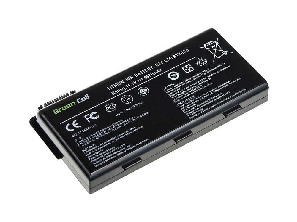 Green Cell for MSI CR500 CR600X CR610 CR630 CR700 BTY-L74 BTY-L75 11.1V 9 cell (MS02) akumulators, baterija portatīvajiem datoriem