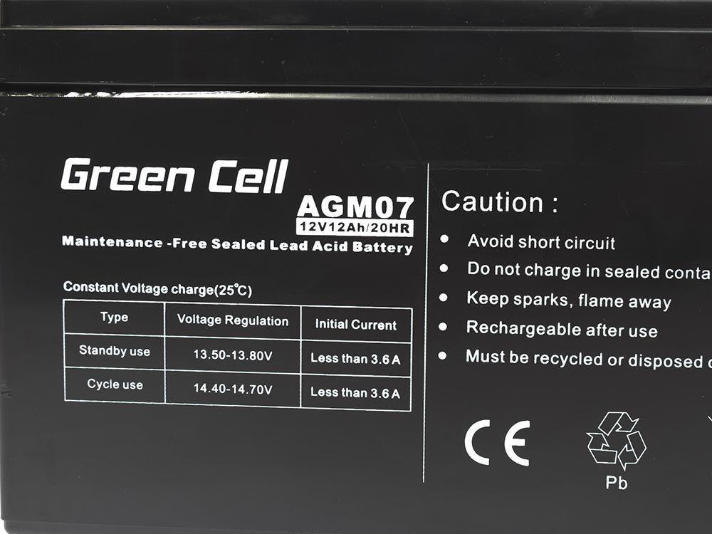 Green Cell AGM 12V 12Ah - AGM07 UPS aksesuāri