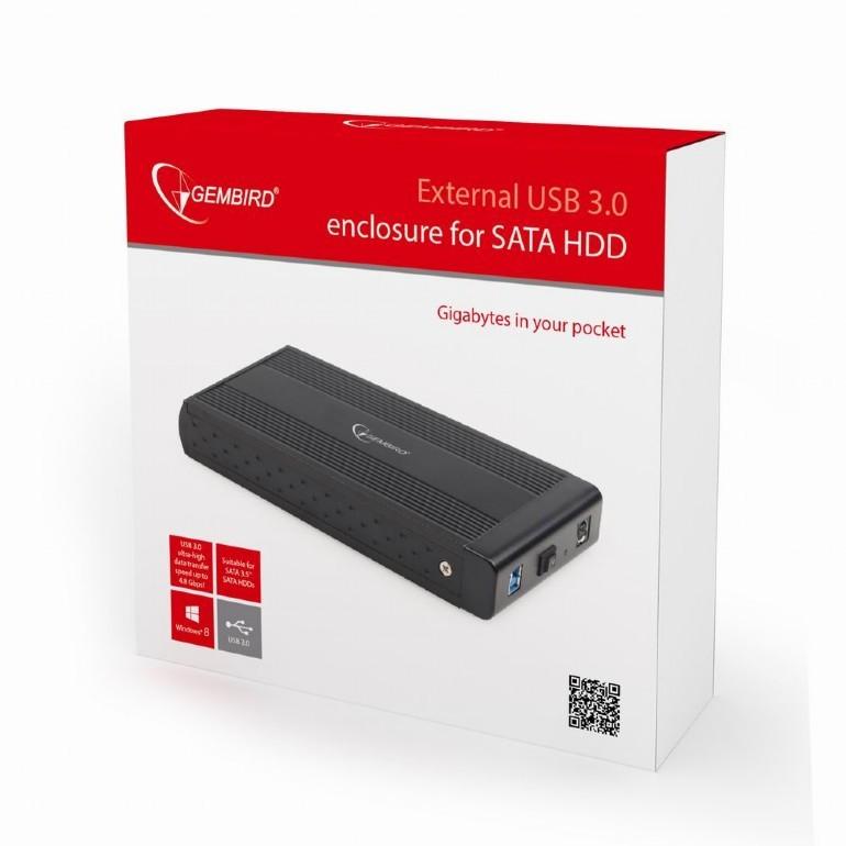 Gembird for 3.5'' SATA - USB 3.0, Aluminium, Black cietā diska korpuss
