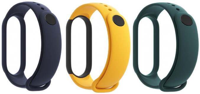 Xiaomi Mi Band 5 wristband, blue/yellow/green 3pcs Viedais pulkstenis, smartwatch