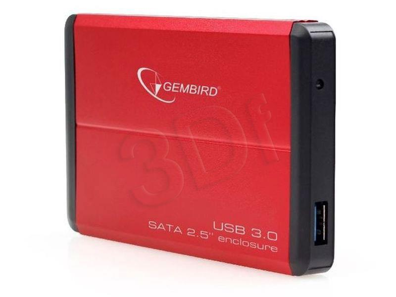 Gembird HDD/SSD enclosure  for 2.5'' SATA - USB 3.0, Aluminium, Red cietā diska korpuss