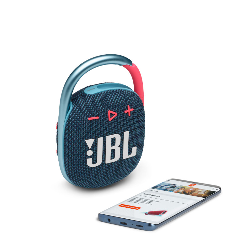 JBL CLIP 4 Portable bluetooth speaker with carabiner, water proof, IPX67, Blue/Pink pārnēsājamais skaļrunis