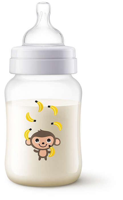 Philips Avent Pretkoliku pudelīte 260 ml, 1M+ Monkey SCF821/11 bērnu barošanas pudelīte