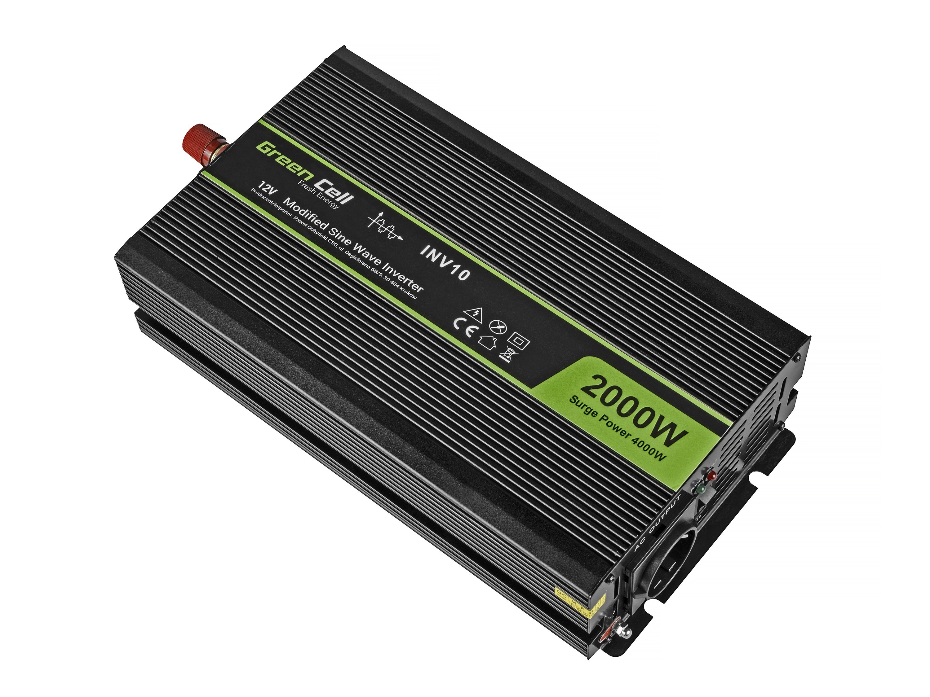Green Cell Car Power Inverter 12V to 220V, 2000W/4000W Strāvas pārveidotājs, Power Inverter
