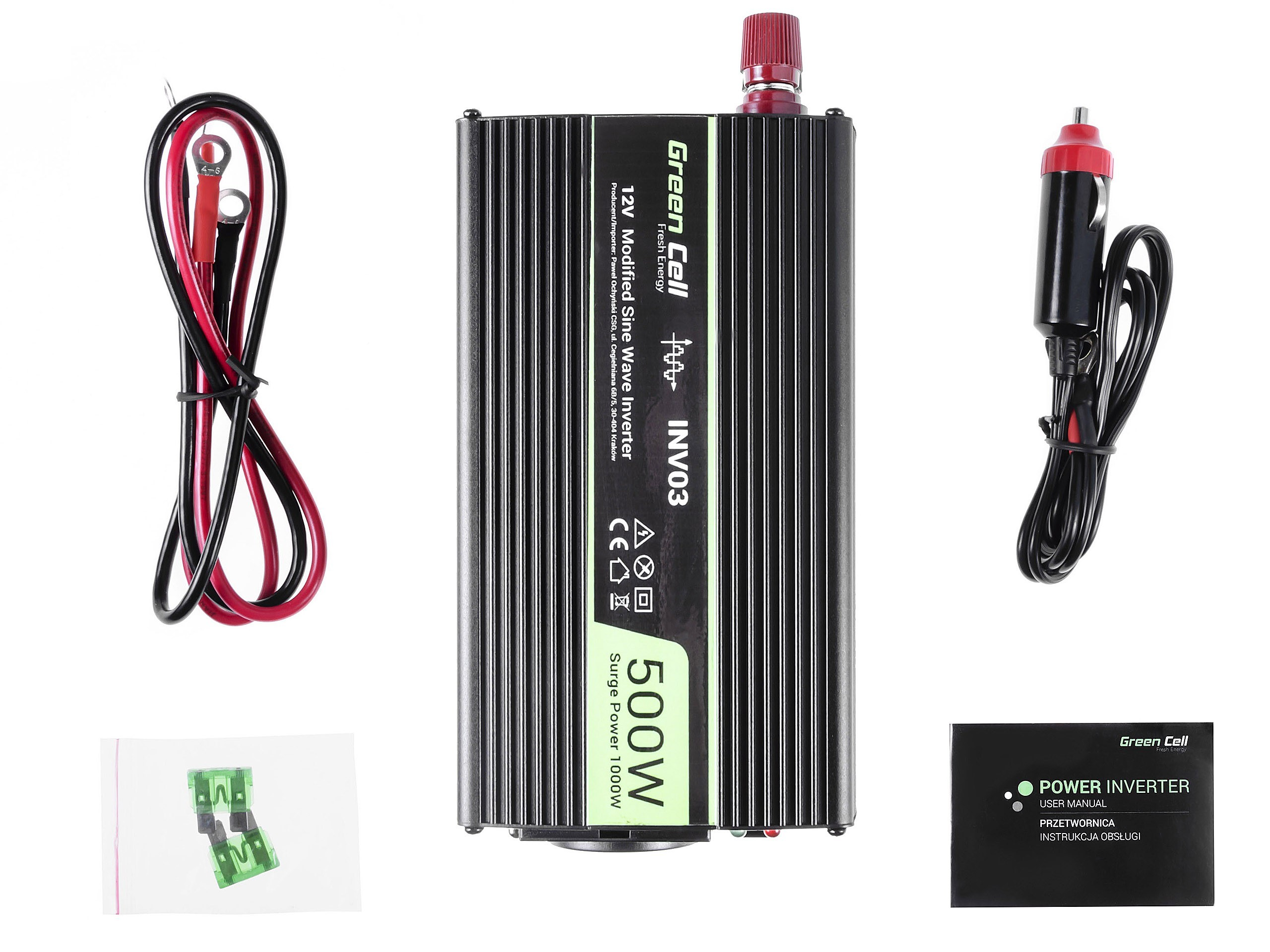Green Cell Car Power Inverter 12V to 230V, 500W/1000W Strāvas pārveidotājs, Power Inverter