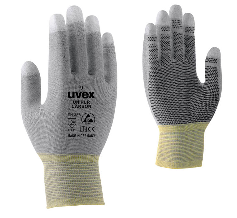 Uvex Safety gloves Uvex Unipur Carbon with dots, antistatic, size 6 cimdi