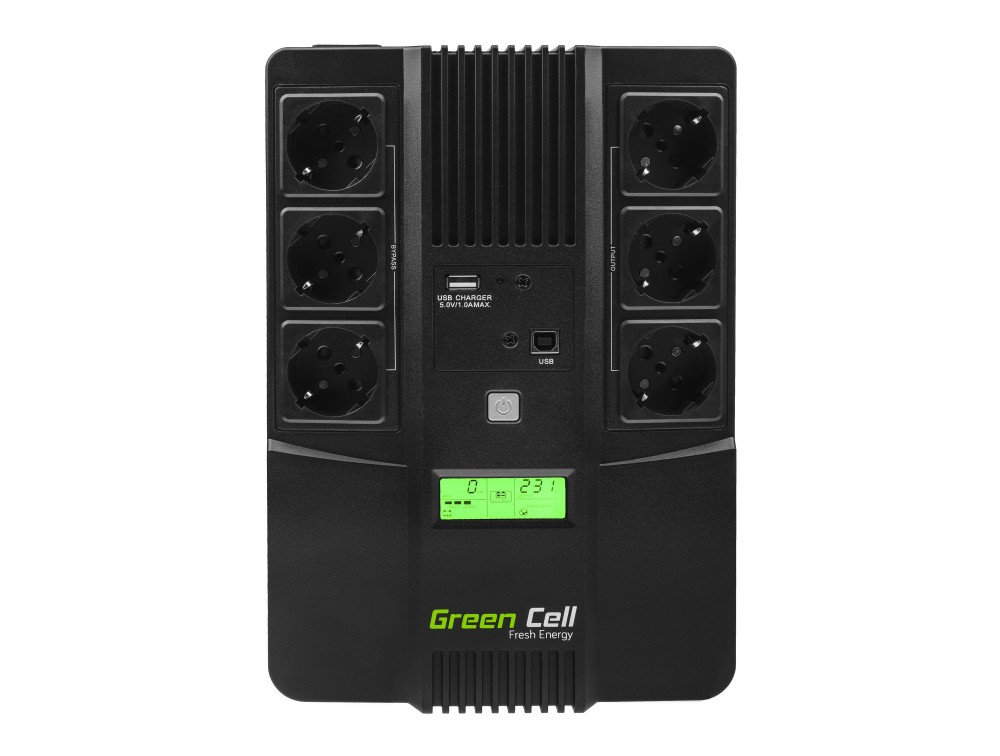 Green Cell  Registered  UPS AiO 800VA LCD nepārtrauktas barošanas avots UPS