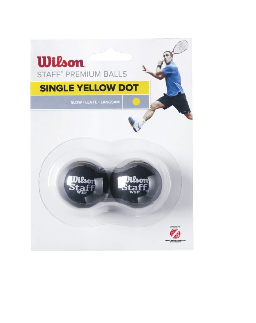 WILSON skvosa bumbinas STAFF Iepakojuma 2 gb. - yellow dot