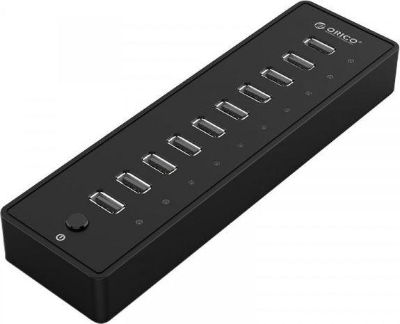 Orico 10 Port USB 2.0 HUB P10-U2-V1-EU-BK-BP P10-U2-V1-EU-BK-BP adapteris