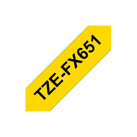 Brother TZe-FX651 Flexible ID Laminated Tape Black on Yellow, TZe, 8 m, 2.4 cm biroja tehnikas aksesuāri