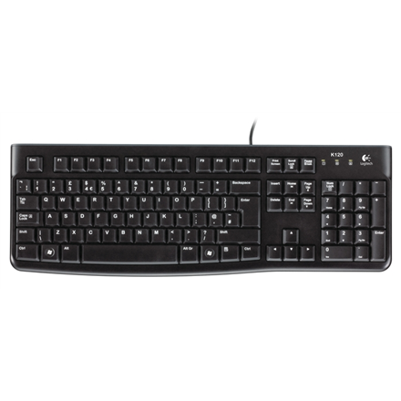 Logitech K120 Multimedia, Keyboard layout EN/RU, USB Port, 1.5 m, Black, Russian, Numeric keypad, 550 g klaviatūra