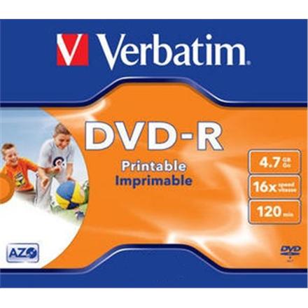 Verbatim DVD-R 4.7GB 16X AZO WIDE PRINTABLE jewel box - 4352 matricas