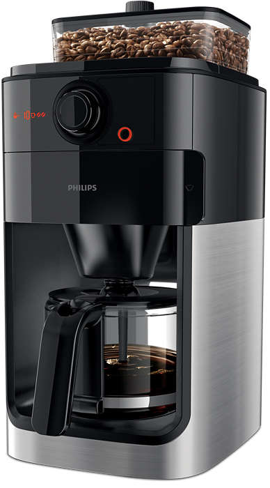 Philips Grind & Brew Coffee maker HD7767/00 With glass jug Integrated coffee grinder Black & metal With timer Kafijas automāts