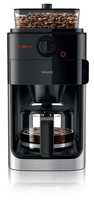 Philips Grind & Brew Coffee maker HD7767/00 With glass jug Integrated coffee grinder Black & metal With timer Kafijas automāts