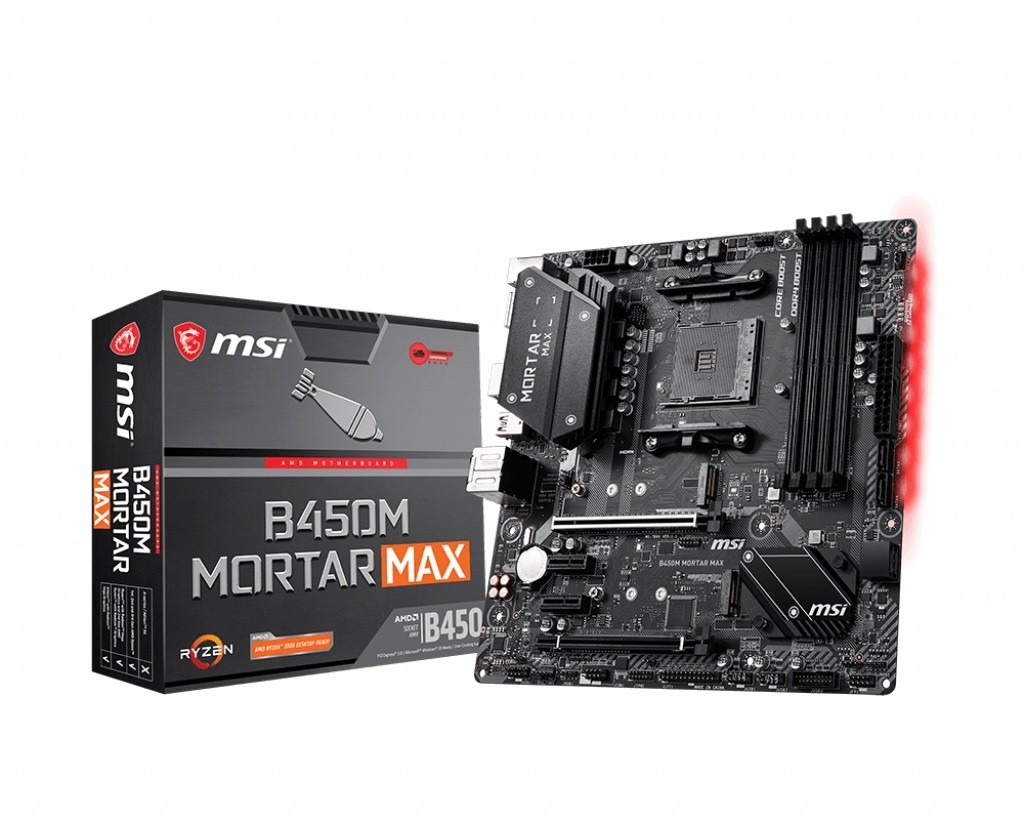 MSI B450M MORTAR MAX (AM4; 4x DDR4 DIMM; Micro ATX; Yes) pamatplate, mātesplate
