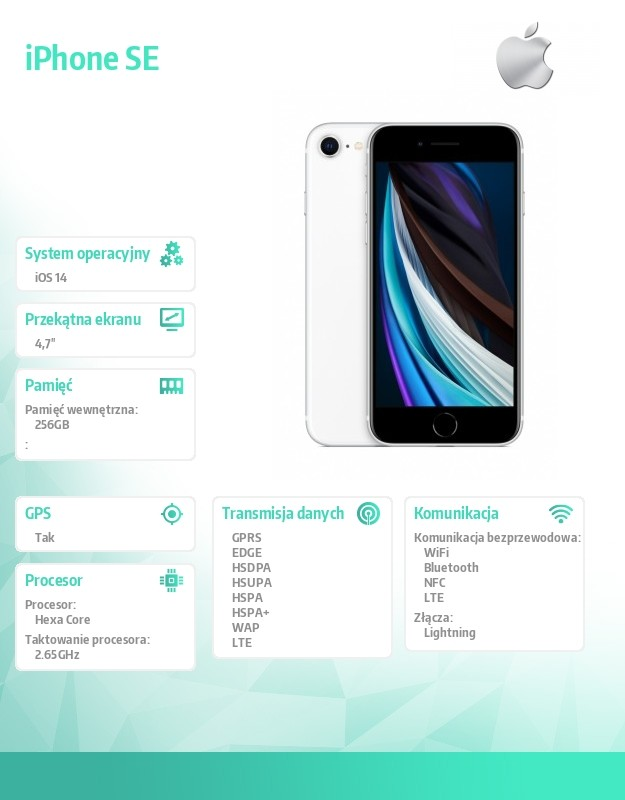IPHONE SE WHITE 256GB Mobilais Telefons