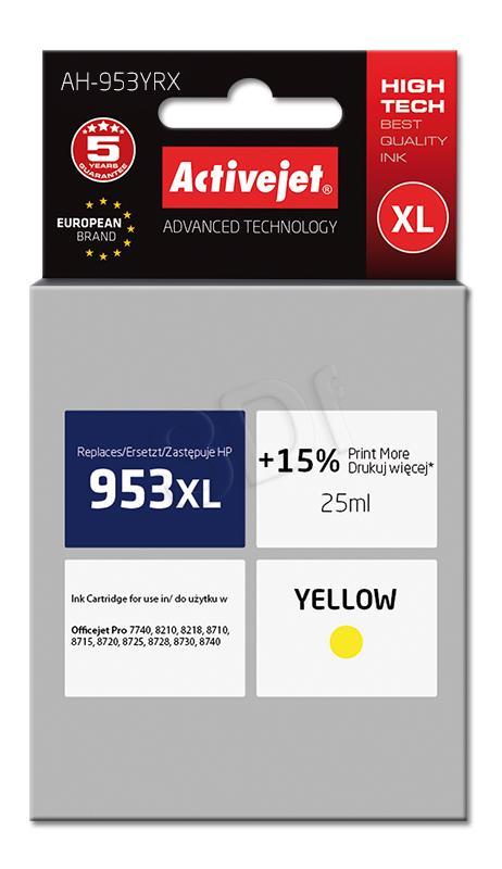 Activejet kārtridži yellow for drukarki HP (zamiennik HP 953XL F6U18AE) Premium (AH-953YRX)