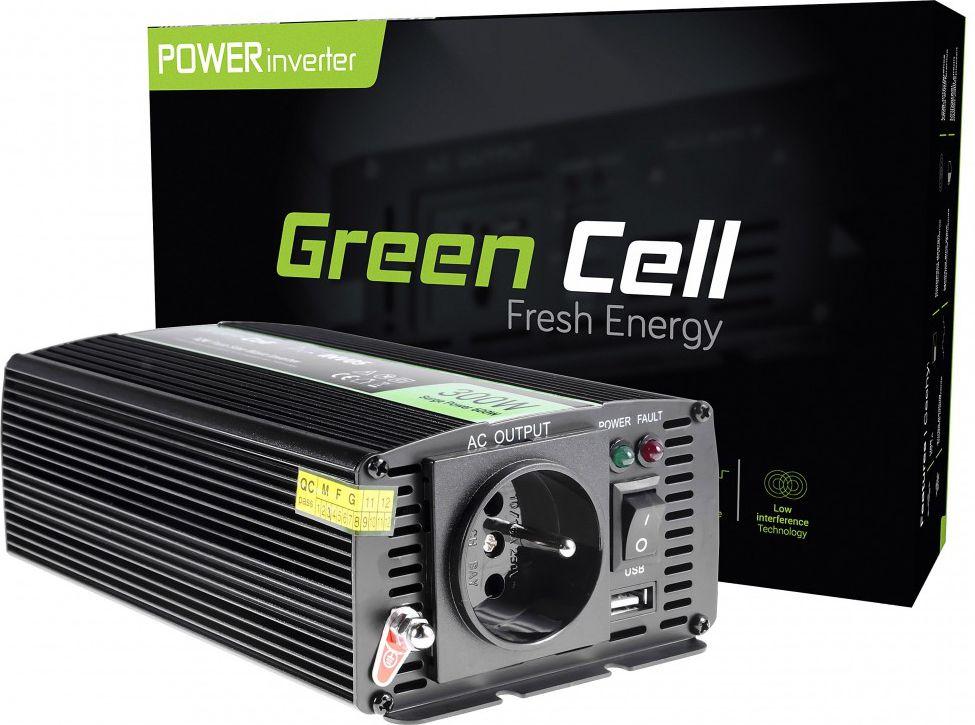 Green Cell Car Power Inverter 12V to 230V, 300W/600W Pure sine wave Strāvas pārveidotājs, Power Inverter