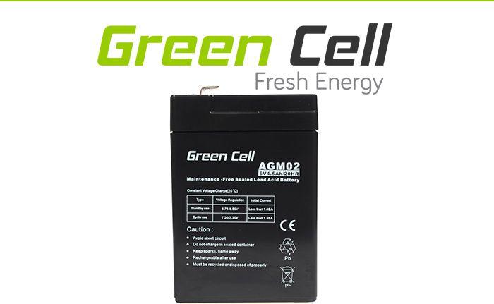 Green Cell AGM Battery 6V 4.5Ah UPS aksesuāri
