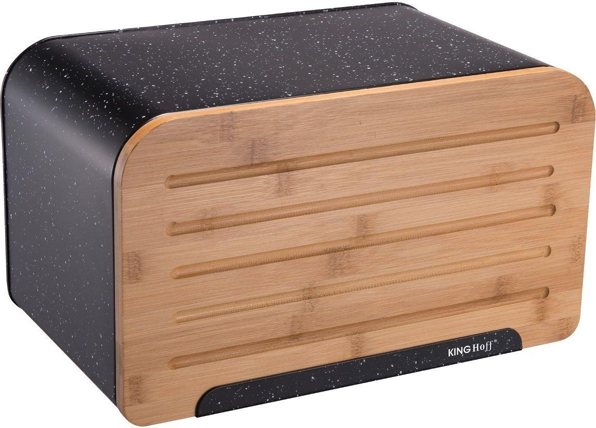 KingHoff Bamboo-Steel Bread Box with a Cutting Board (KH-1245) Pārtikas uzglabāšanas piederumi
