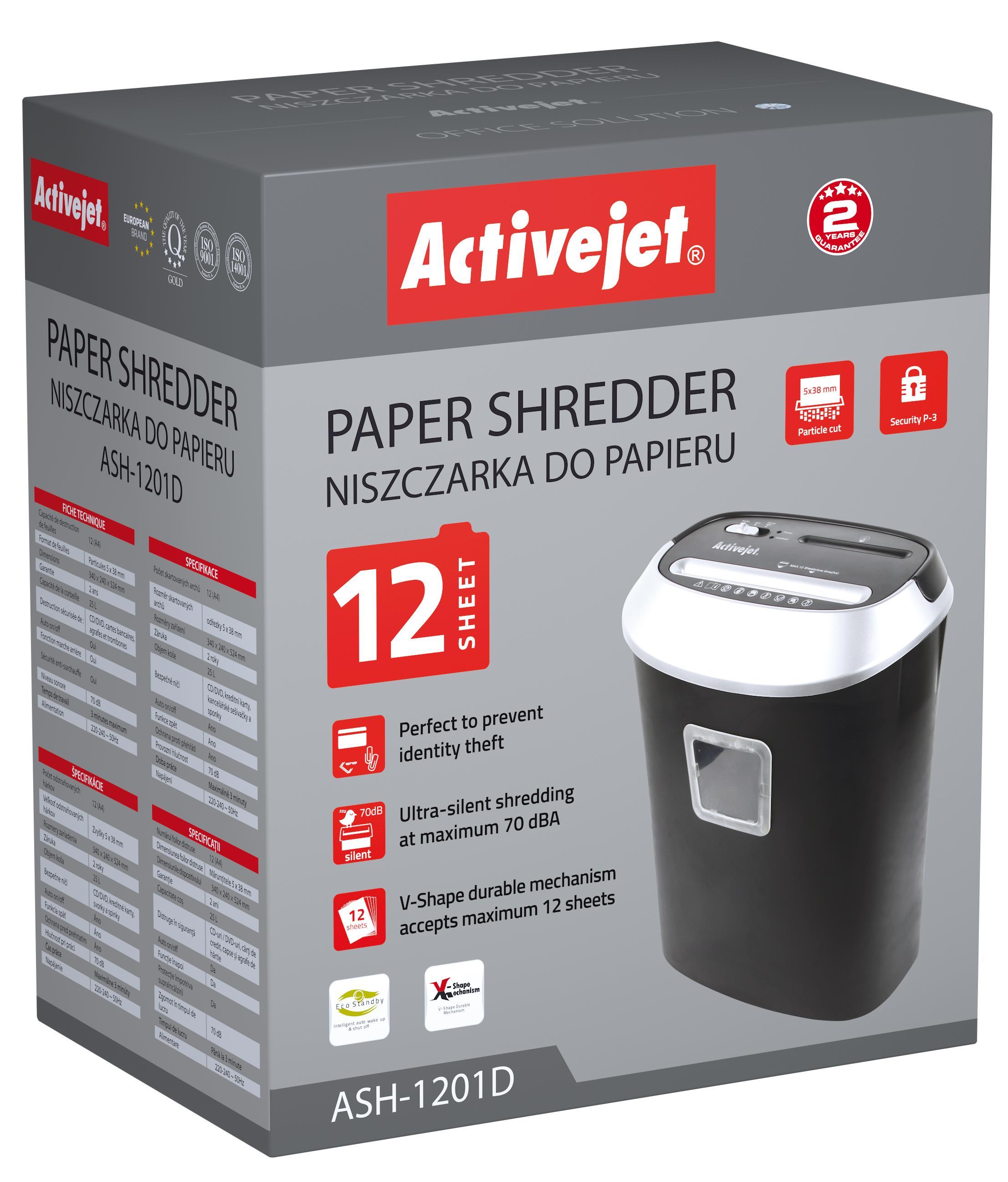 Activejet ASH-1201D paper and documents shredder papīra smalcinātājs