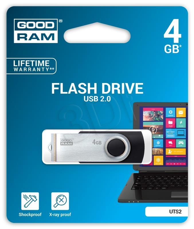 GOODRAM TWISTER 4GB     Black USB2.0 USB Flash atmiņa