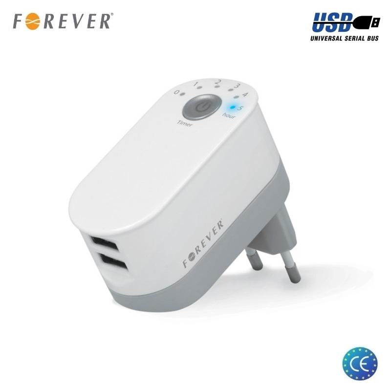 Forever Universāls Divu USB Ligzdu 5V 2.2A 11W Smart Tīkla Lādētājs ar Izlēgšanās Taimeri Balta iekārtas lādētājs