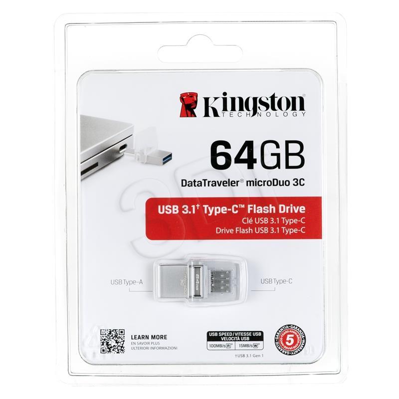 KINGSTON 64GB DT microDuo 3C USB3.0/3.1 USB Flash atmiņa