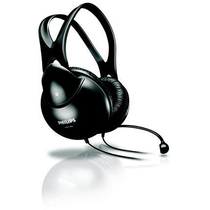 PHILIPS On-Ear austiņas ar mikrafonu, melnas (melnas) SHM1900/00 austiņas