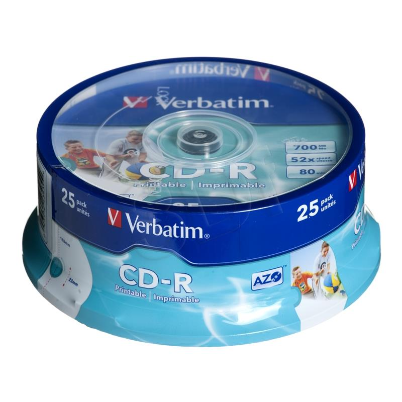 Verbatim CD-R/25/Cake 700MB 52x Printable 43439 matricas