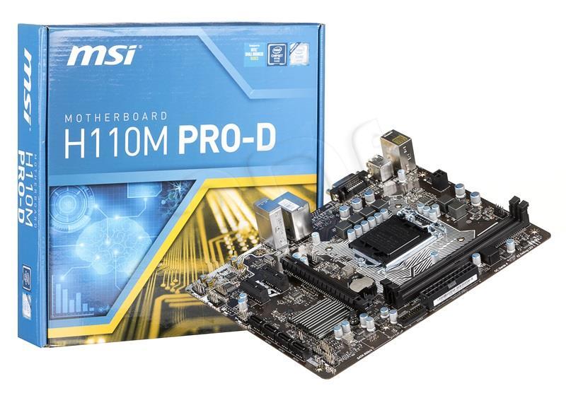 MSI H110M PRO-D, H110, DDR4, SATA3, USB 3.1, mATX (7996-019R) 7996-019R pamatplate, mātesplate