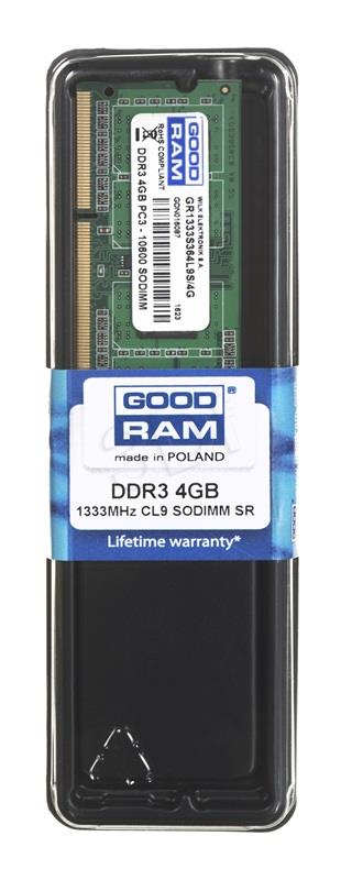 Goodram SODIMM DDR3 4GB/1333    CL9 5128 operatīvā atmiņa