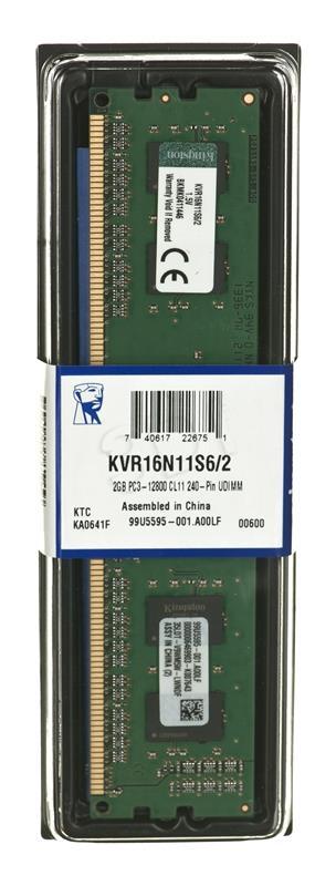 KINGSTON 2GB 1600MHz DDR3 Non-ECC CL11 operatīvā atmiņa