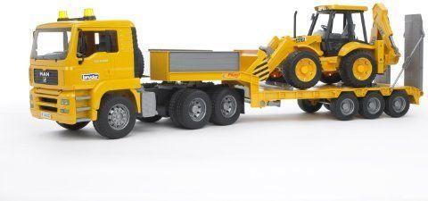 Bruder MAN TGA Low loader truck with JCB 4CX Rotaļu auto un modeļi